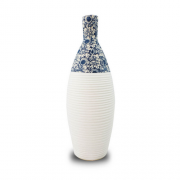 Vaso Decorativo Ceramica Branco Floral 37X15X15
