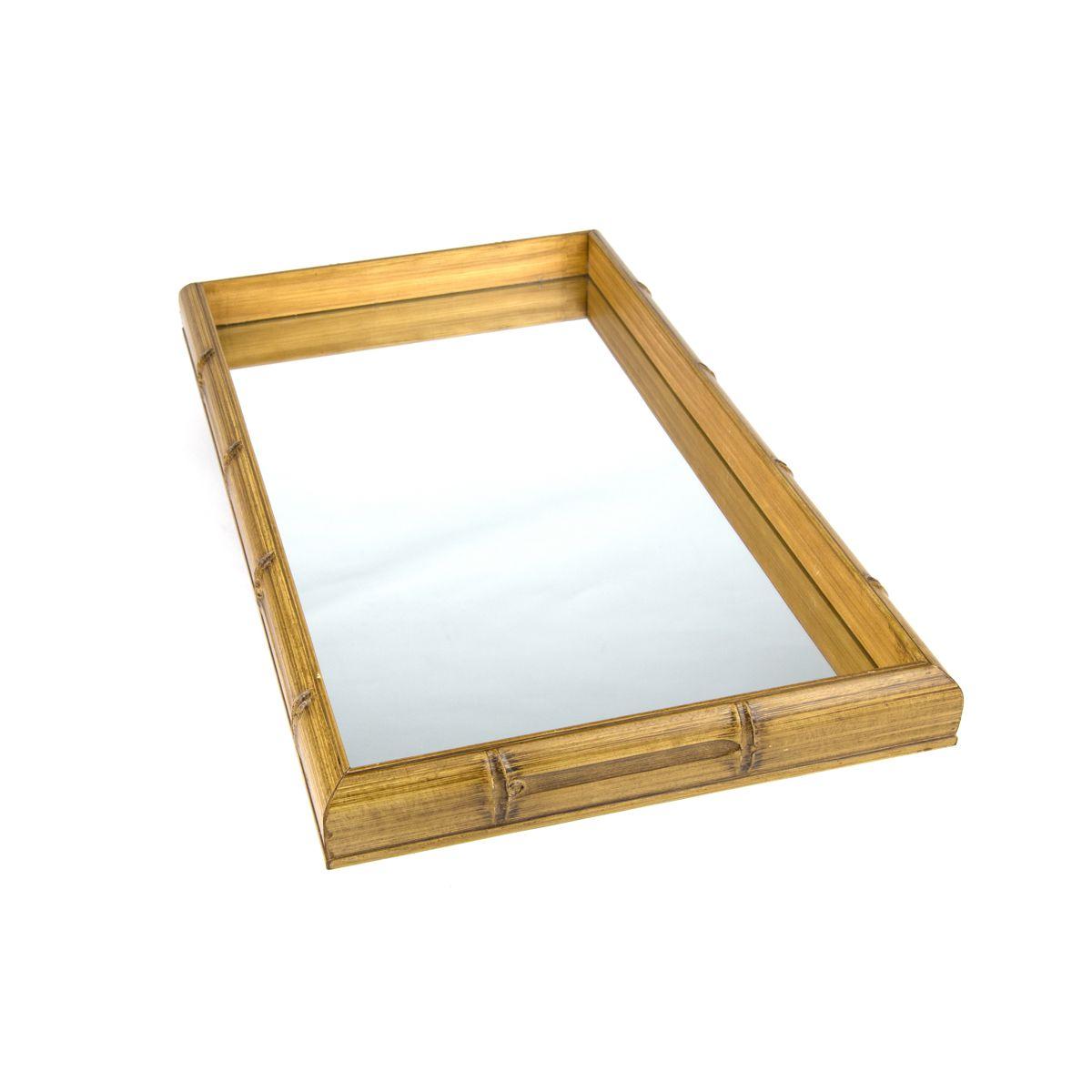 Bandeja Bambu com Espelho 46x26x4cm