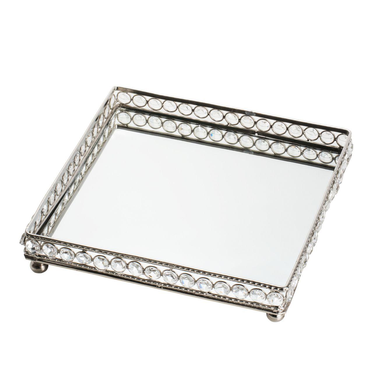 Bandeja de Ferro e Cristais com Espelho Prateado 25,5x25,5x5cm