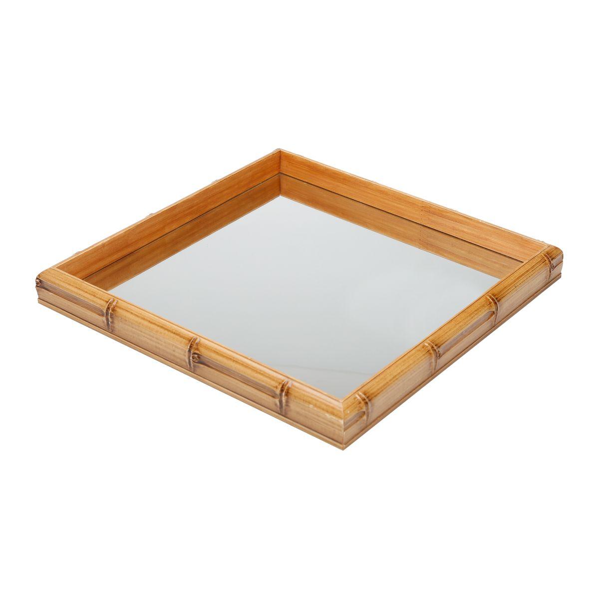 Bandeja de Madeira com Espelho Bambu 27 X 27 X4cm