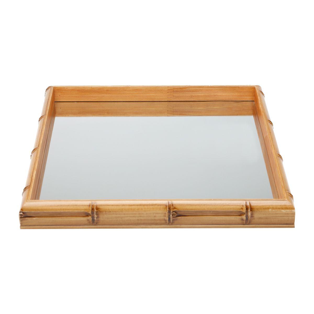 Bandeja de Madeira com Espelho Bambu 36x36x4cm