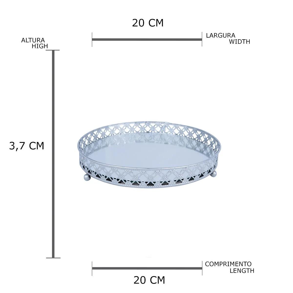Bandeja em Metal redonda com Espelho Edge Prata Pequena