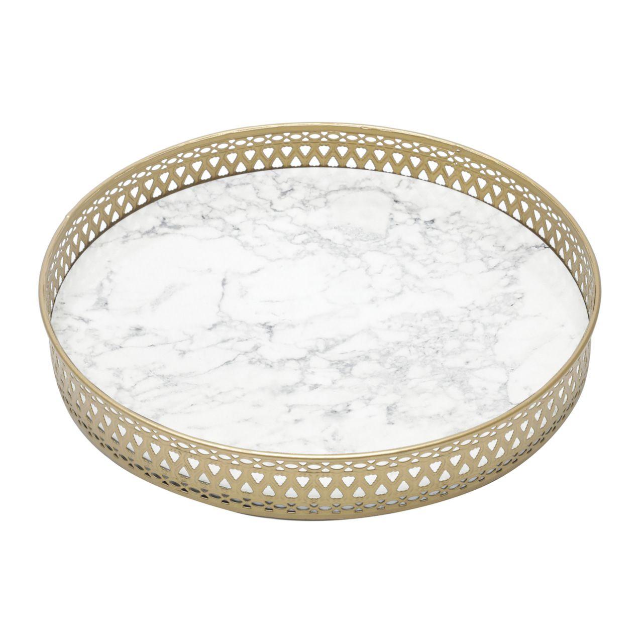 Bandeja Madeira Metalround Shape Marble Branco E Dourado