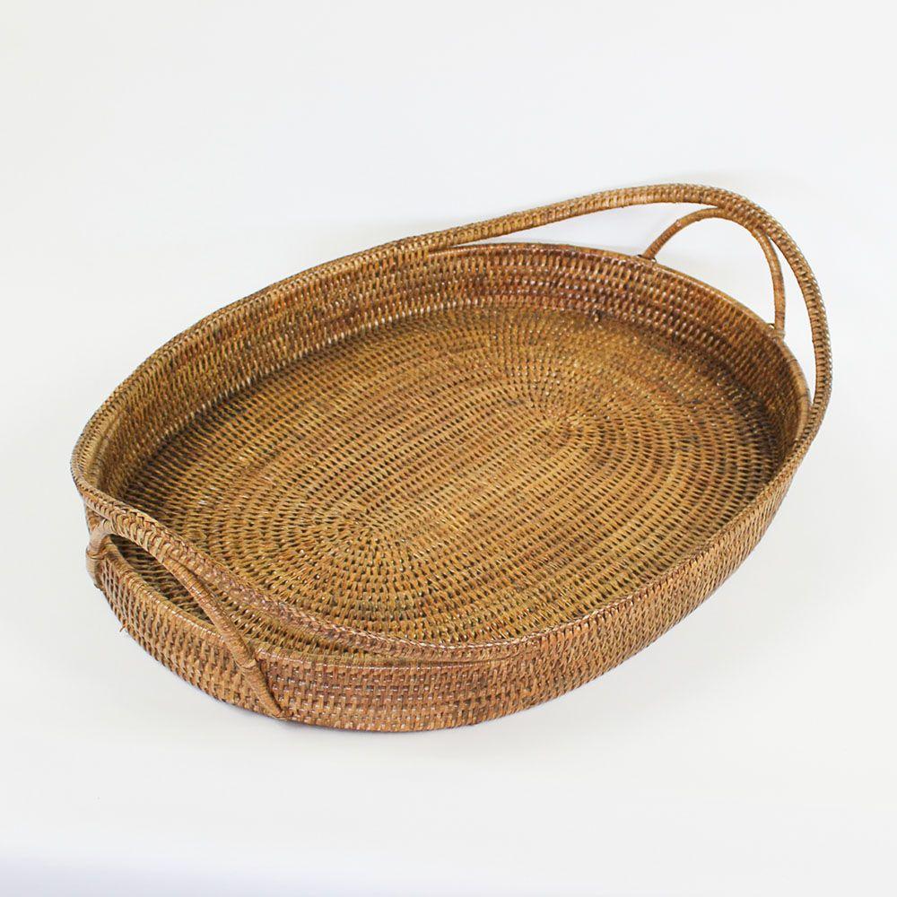 Bandeja Oval em Rattan com Alças LUNA 60cm