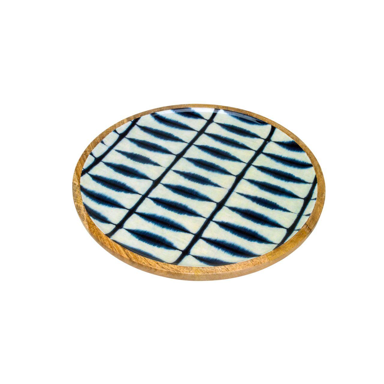 Bandeja Redonda de Madeira Blue 35x2,5cm