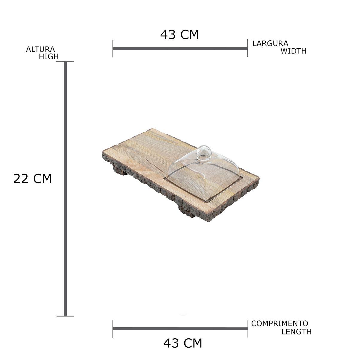 Bandeja Retangular De Madeira Para Servir com Tampa de Vidro 43x22cm