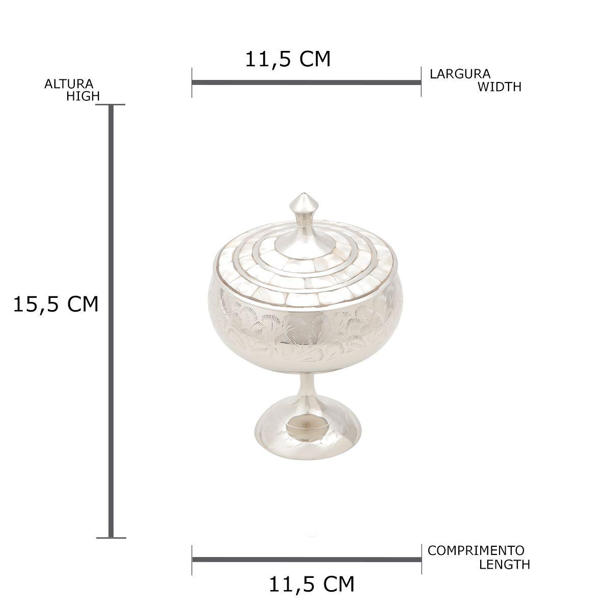 Bomboniere de Latão Niquelado Com Madrepérola 11 Cm