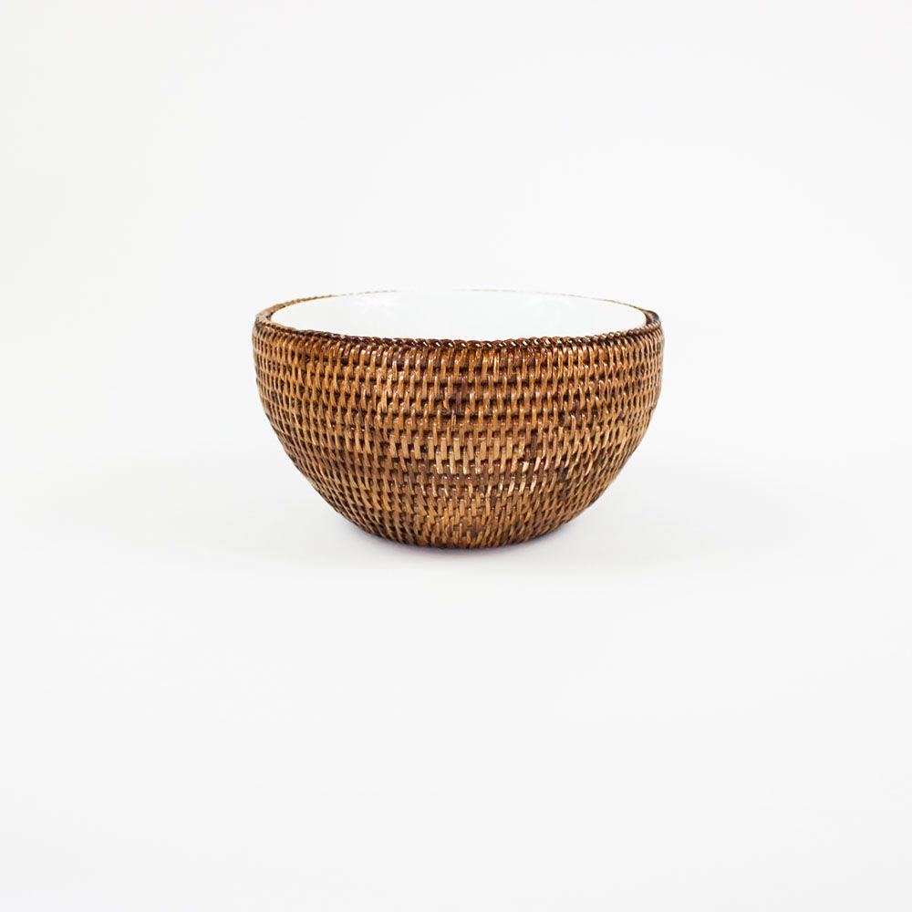 Bowl de Porcelana Schmidt (20cm) com Suporte em Rattan MAYA