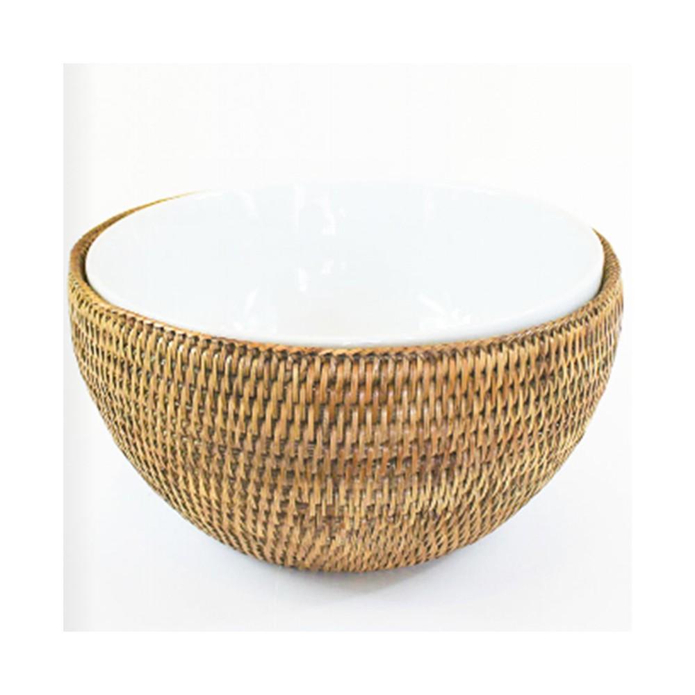 Bowl de Porcelana Schmidt (25cm) com Suporte em Rattan MAYA