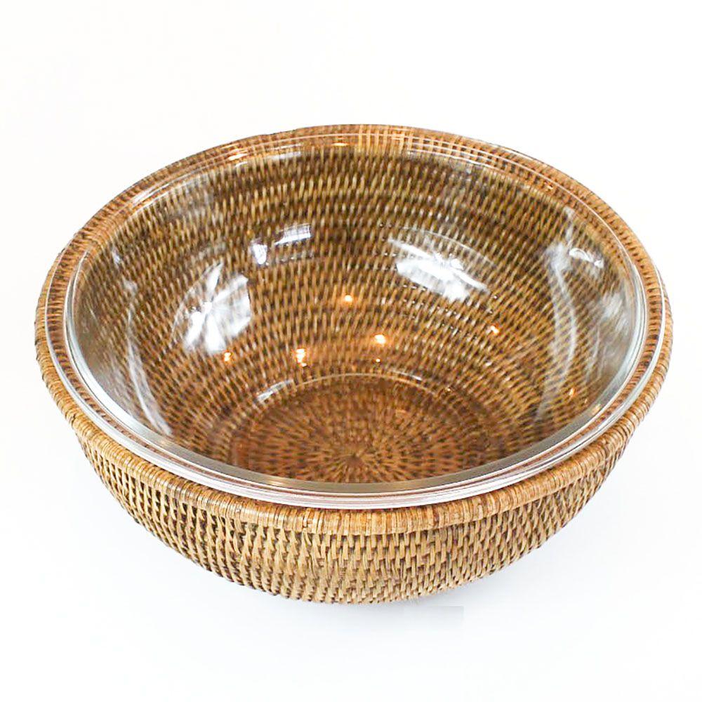Bowl de Vidro Refratario (29,4Cm) Com Suporte Em Rattan Maya