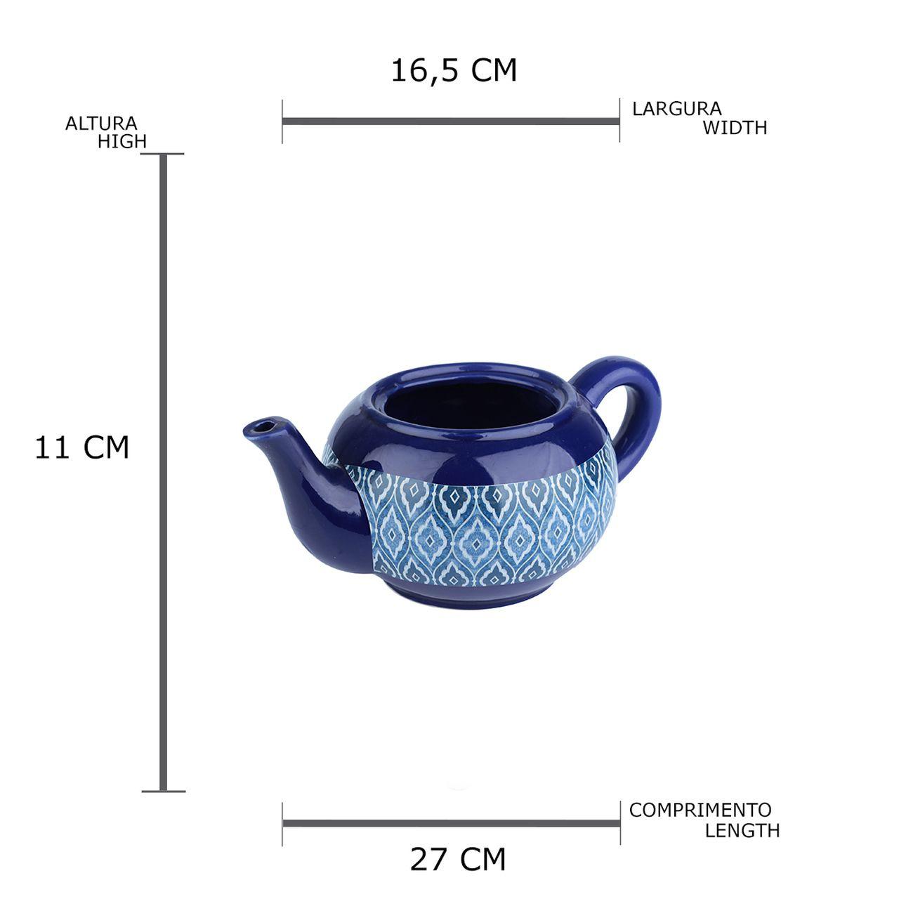 Cachepot Cerâmica Tapot Blue Marracan Azul