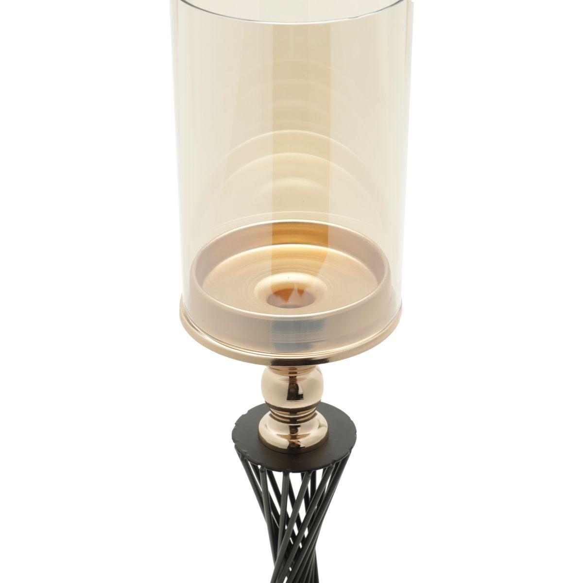 Castiçal Metal Preto/Dourado 15x53cm