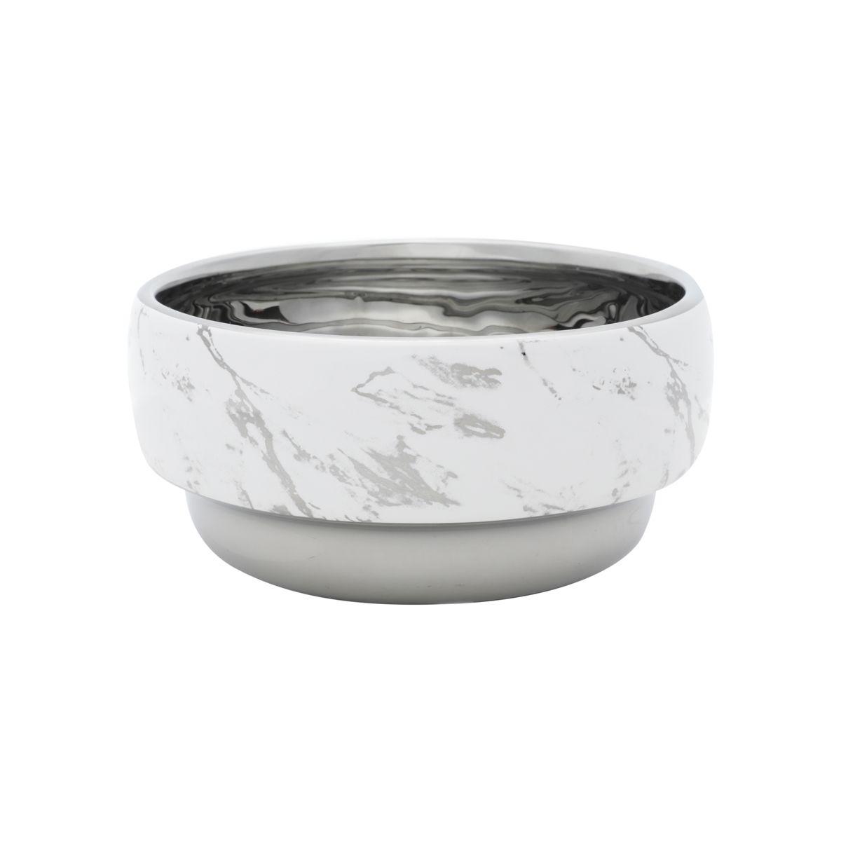 Centro De Mesa Cerâmica Branco 15x8cm