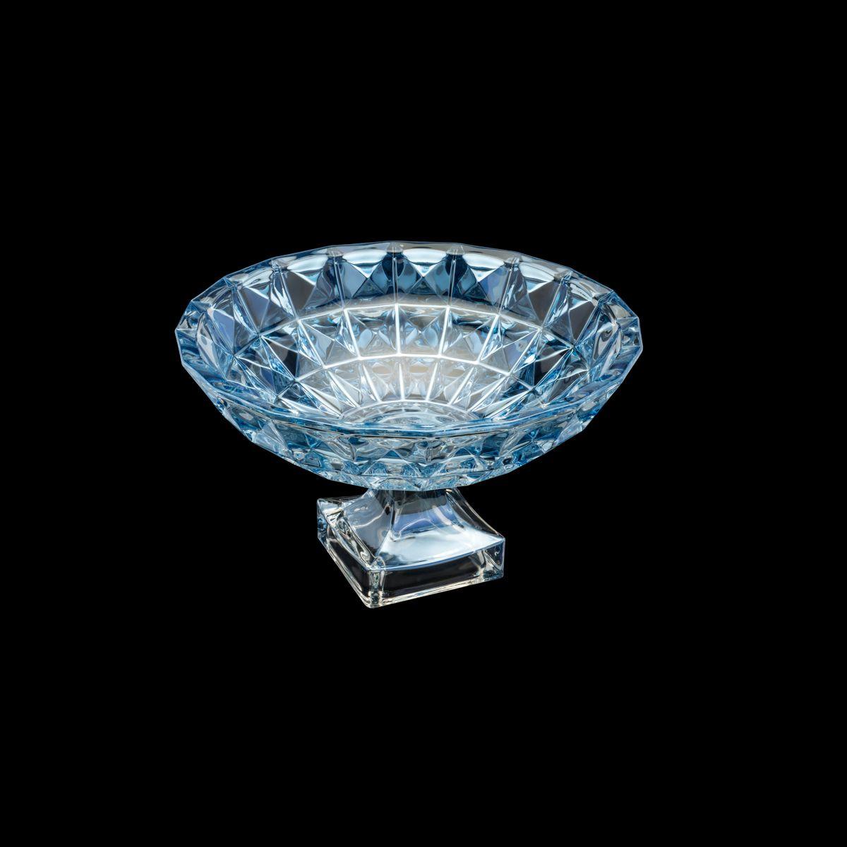 Centro de Mesa de Cristal de Chumbo com Pe Diamant Azul 32,5x19,5cm