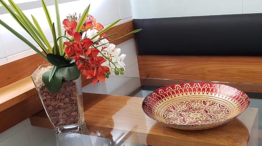 Centro De Mesa Decorativo De Vidro Luca Vermelho 40x7cm