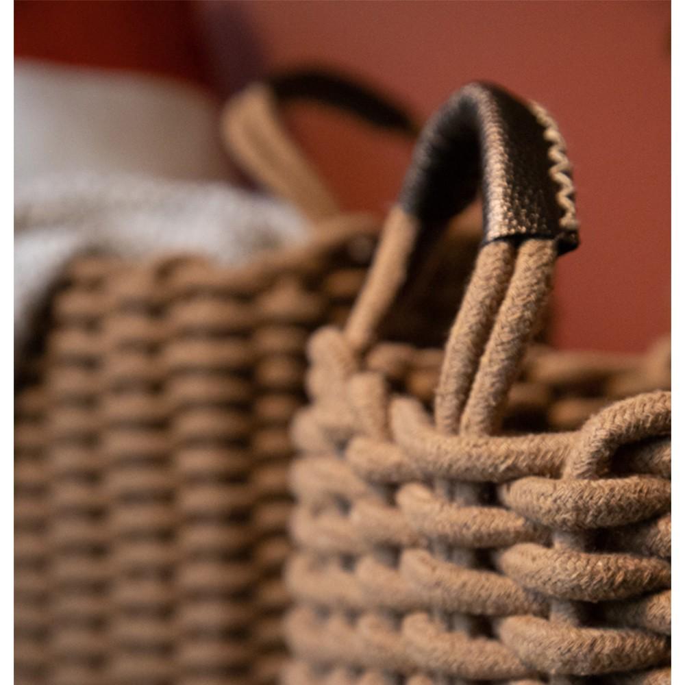 Cesto Corbata Retangular Caramelo com Alça em Couro 39x31x33