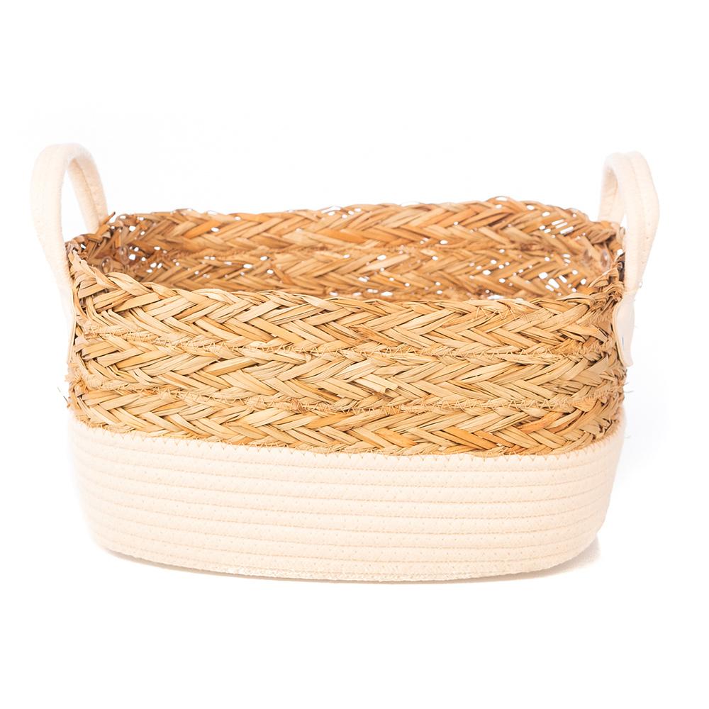 Cesto de Corda e Seagrass Retangular c/ alça em Couro G (35cm)