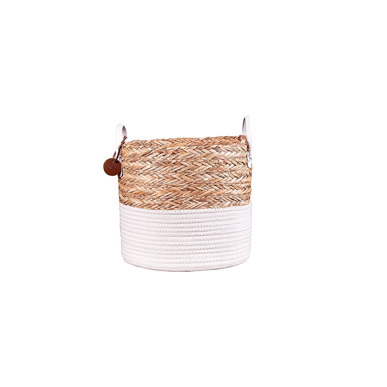 Cesto de Corda Seagrass com Algodão 30xh28cm
