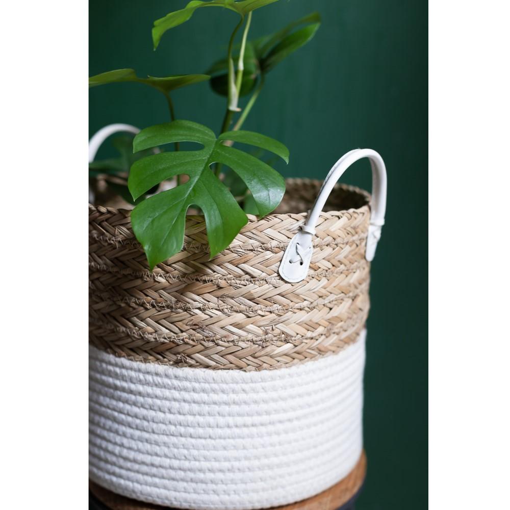 Cesto de Corda Seagrass com Algodão 38xh34cm