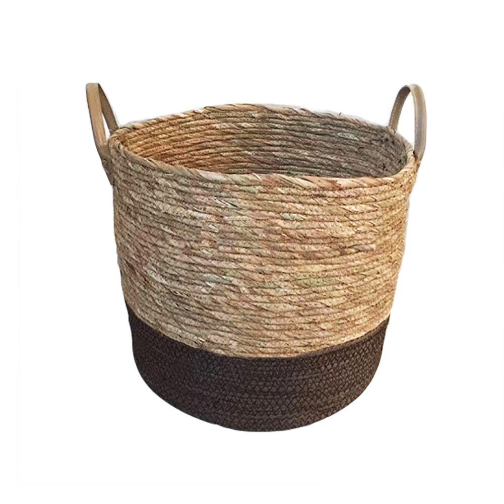Cesto De Fibra Natural Seagrass Redondo com Fundo Marrom E Alça De Couro G