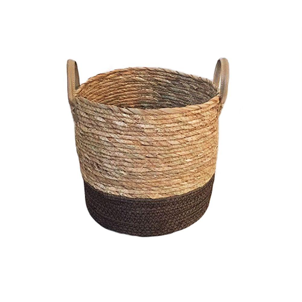 Cesto De Fibra Natural Seagrass Redondo com Fundo Marrom E Alça De Couro M