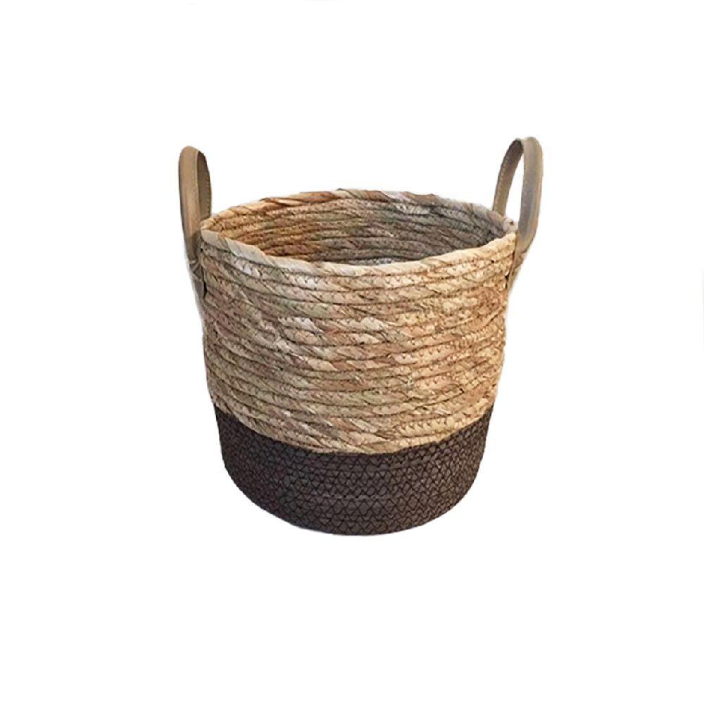 Cesto De Fibra Natural Seagrass Redondo com Fundo Marrom E Alça De Couro P