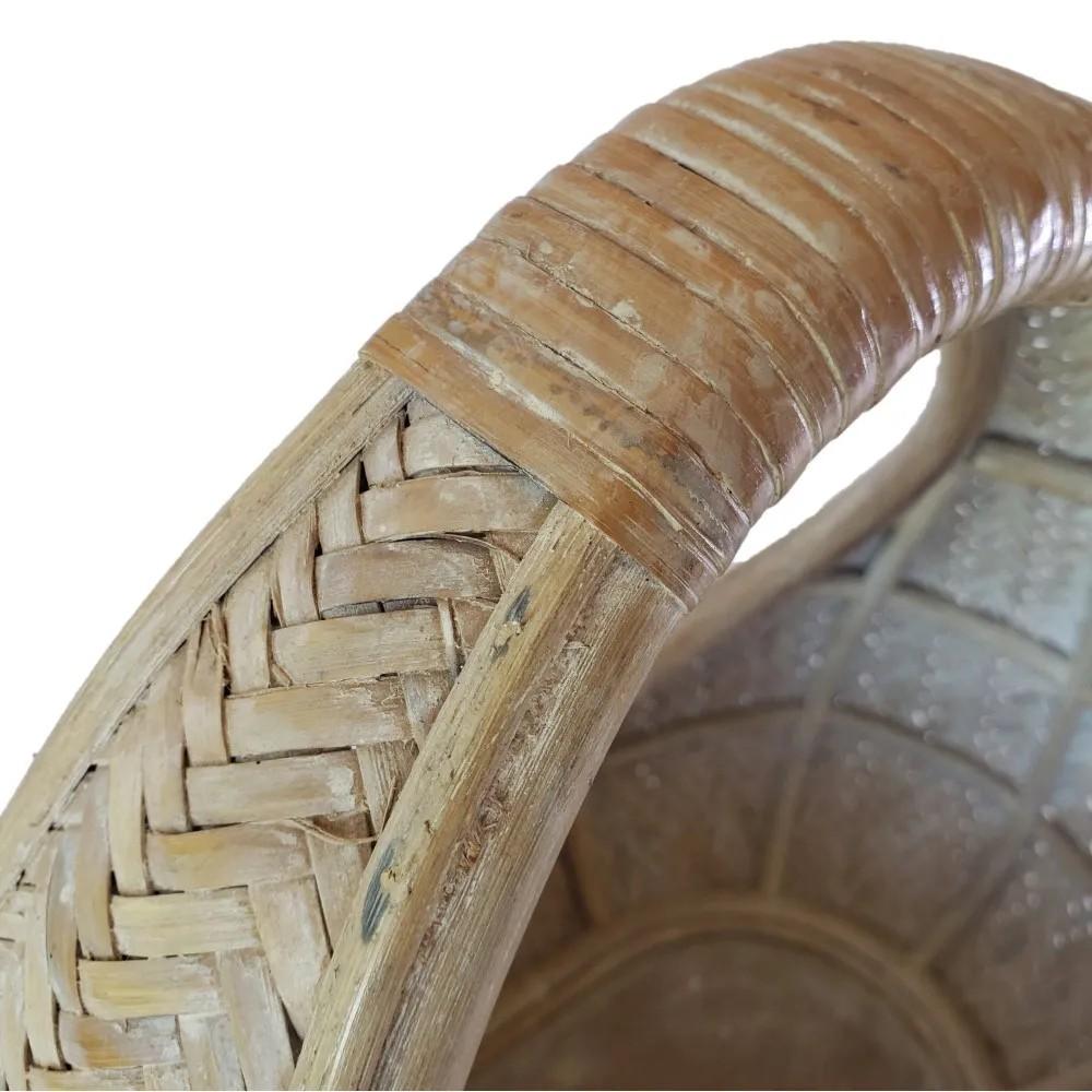 Cesto em Rattan White 38x25,5x40cm