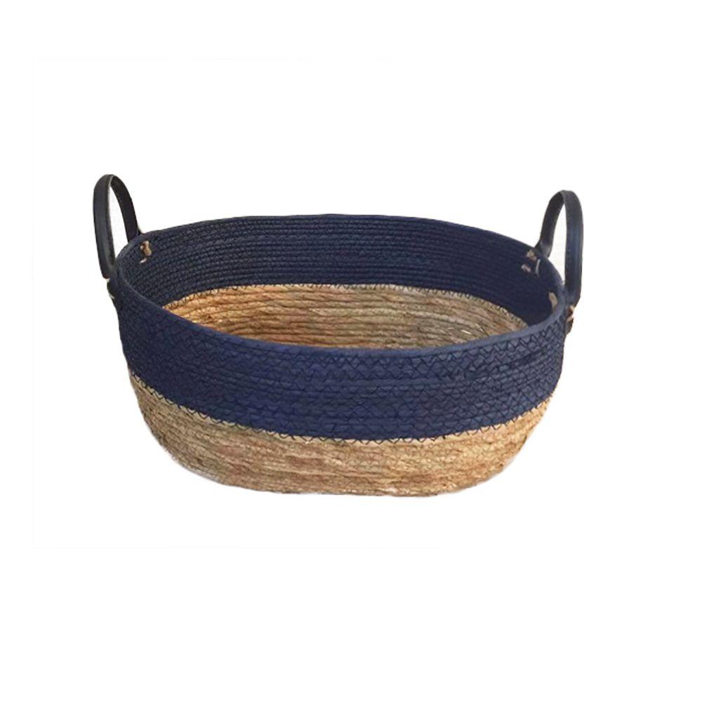 Cesto Seagrass com Borda Azul e Alça de Couro M