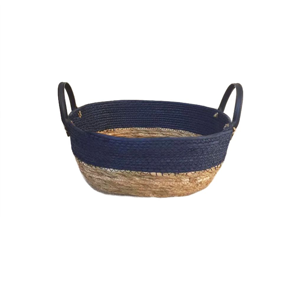 Cesto Seagrass com Borda Azul e Alça de Couro P