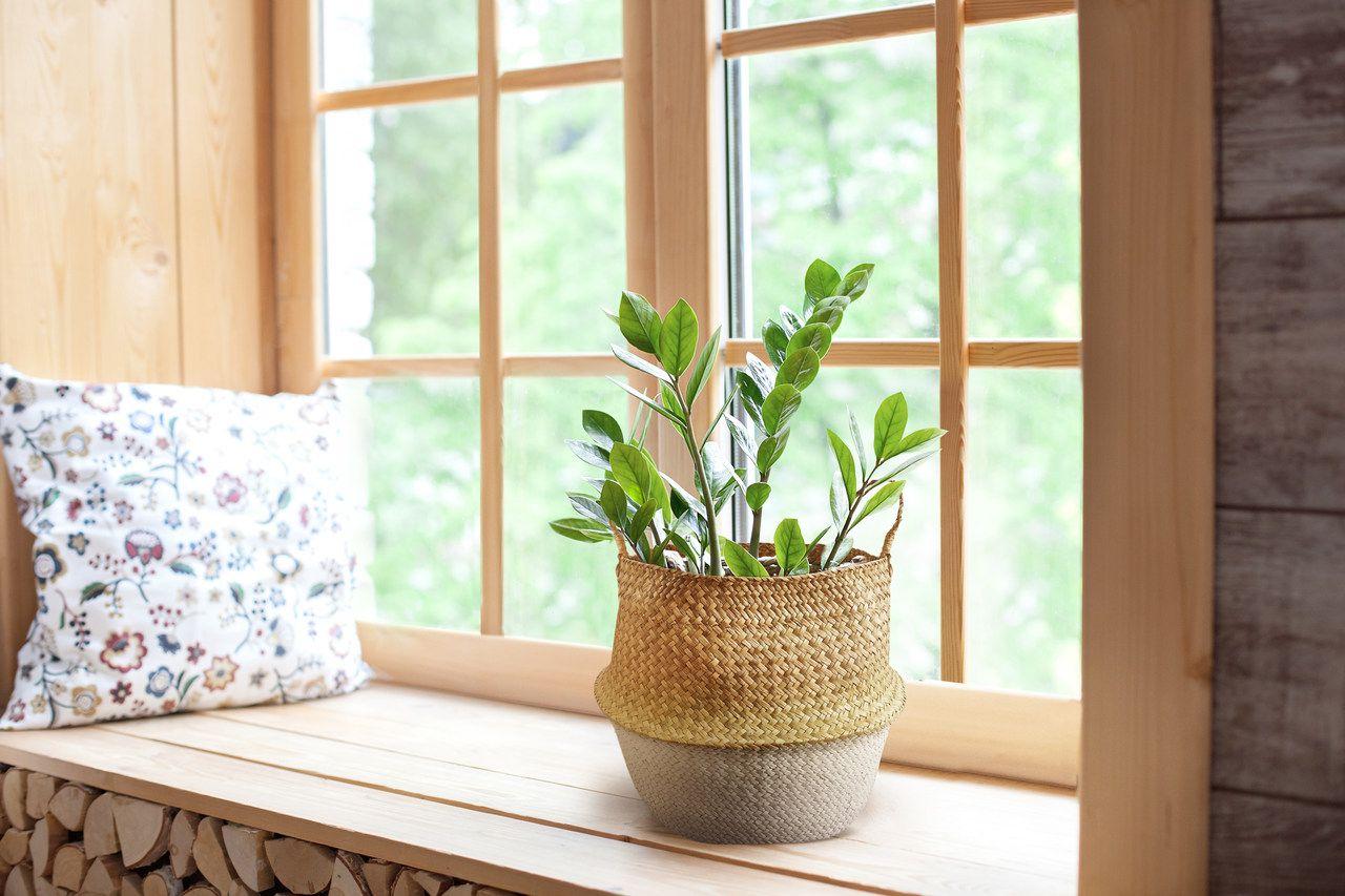 Cesto Seagrass Natural e Branco com Alca M