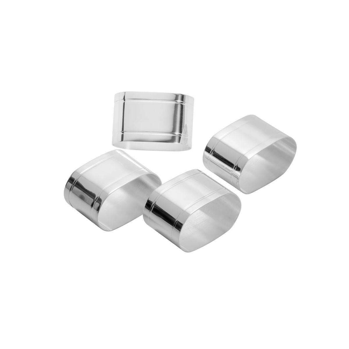 Conjunto 4 Anéis de Aço Inox para Guardanapo Elegance 5x3x3,5cm