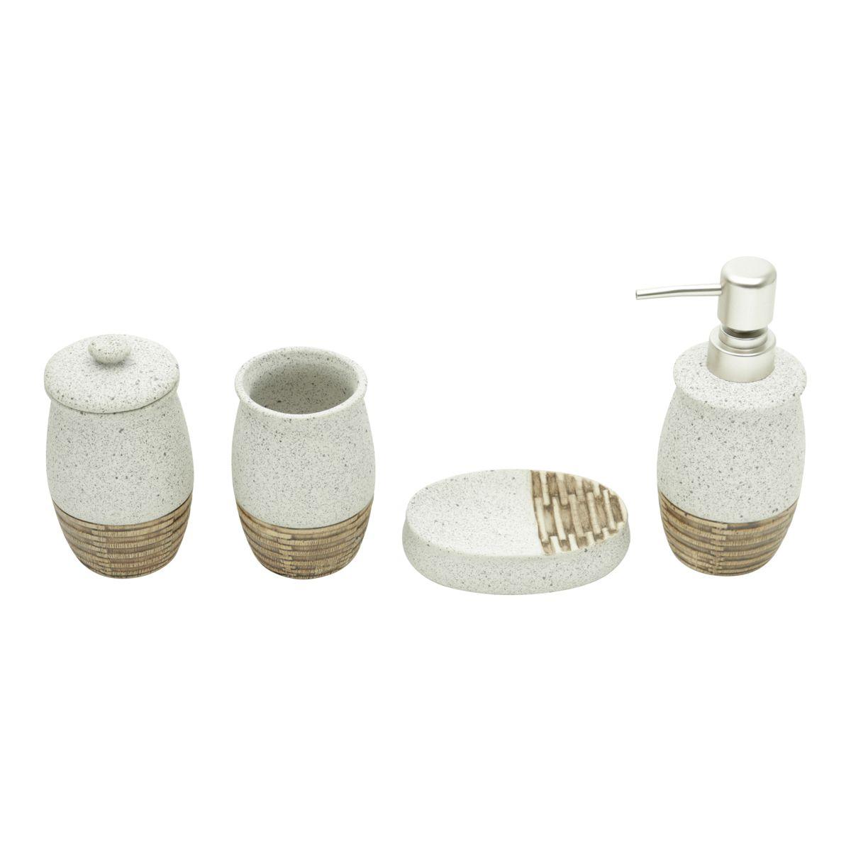 Kit Banheiro  4 pcs de Cerâmica Stone Silver Mat
