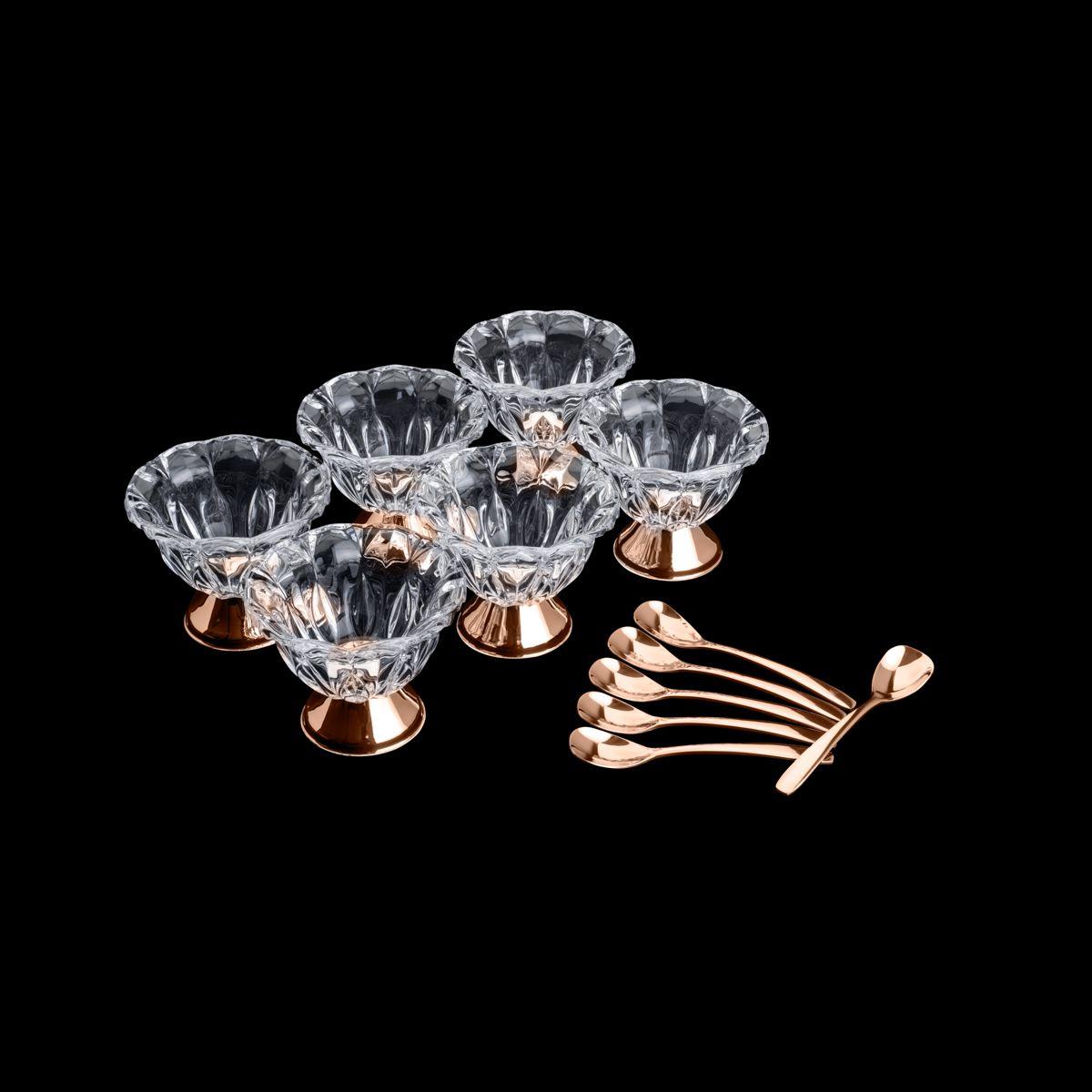 Conjunto 6 Bowls de Cristal para Sobremesa com 6 Colheres Rose Louise