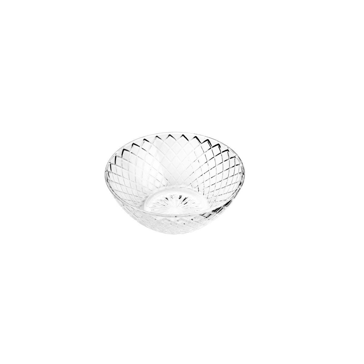 Cj 6 Bowls De Vidro Grid Transparente 13cm
