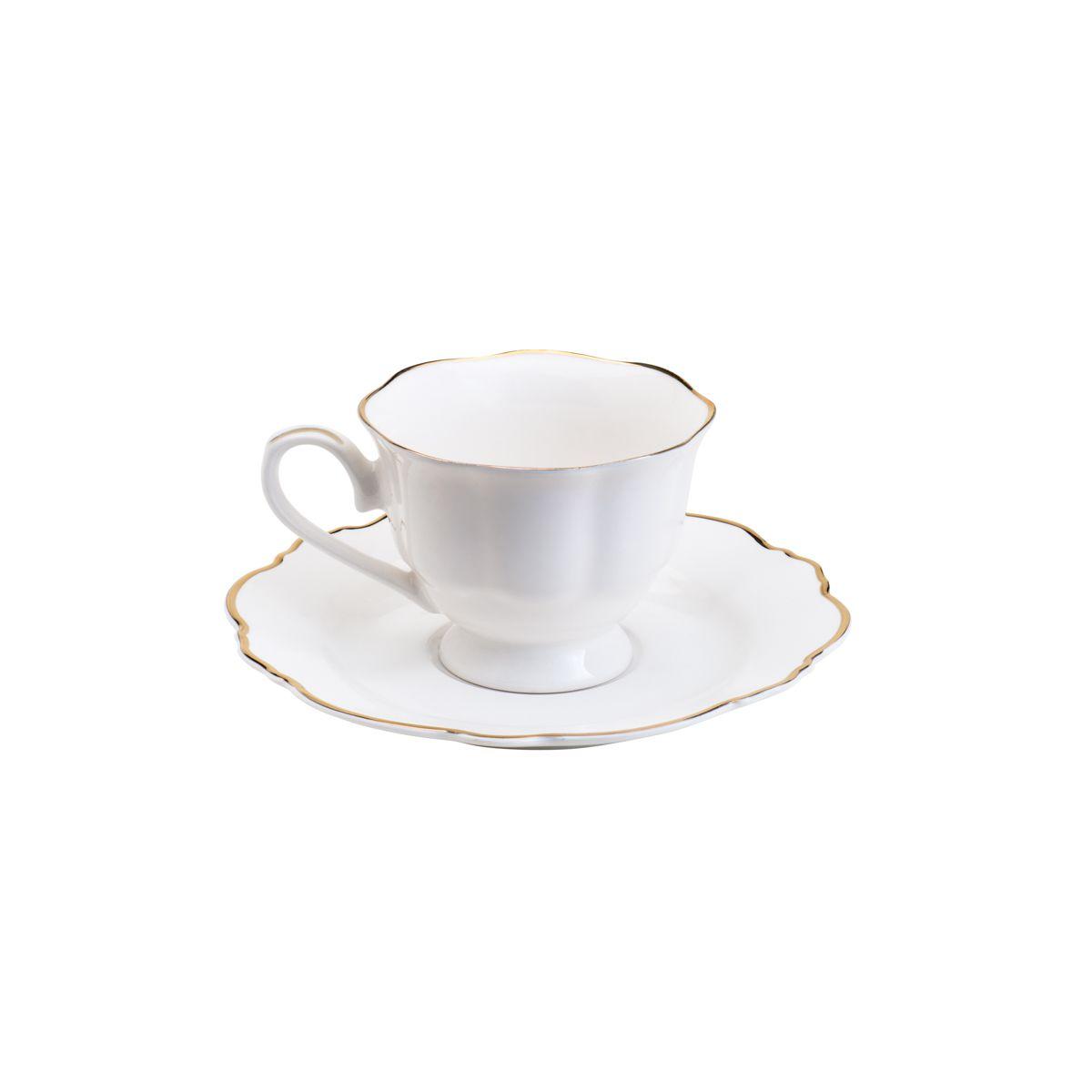 Conjunto 6 Xicaras de Café com Pires de Porcelana Fio Dourado Branco 80ml