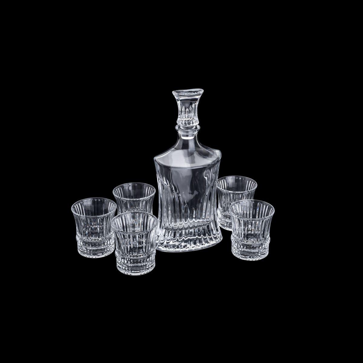 Conjunto 7pc 1 Garrafa de Whisky 550ml  6 Copos De Cristal 240ml