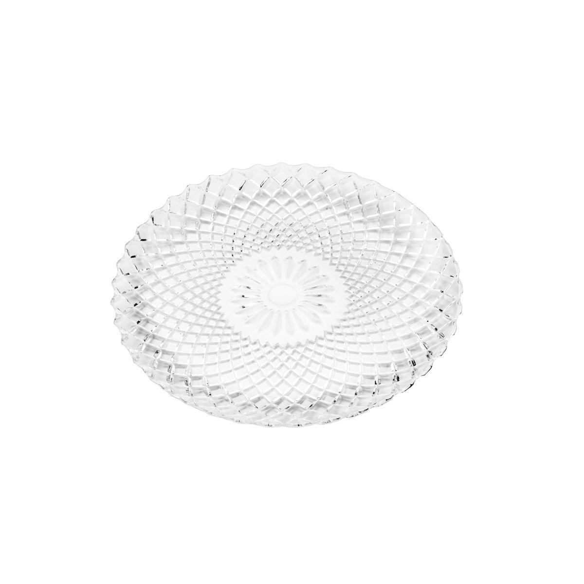 Conjunto 7 peças de Vidro Borossilicato 1 Prato 31cm e 6 Pratos 15,5cm Grid Transparente