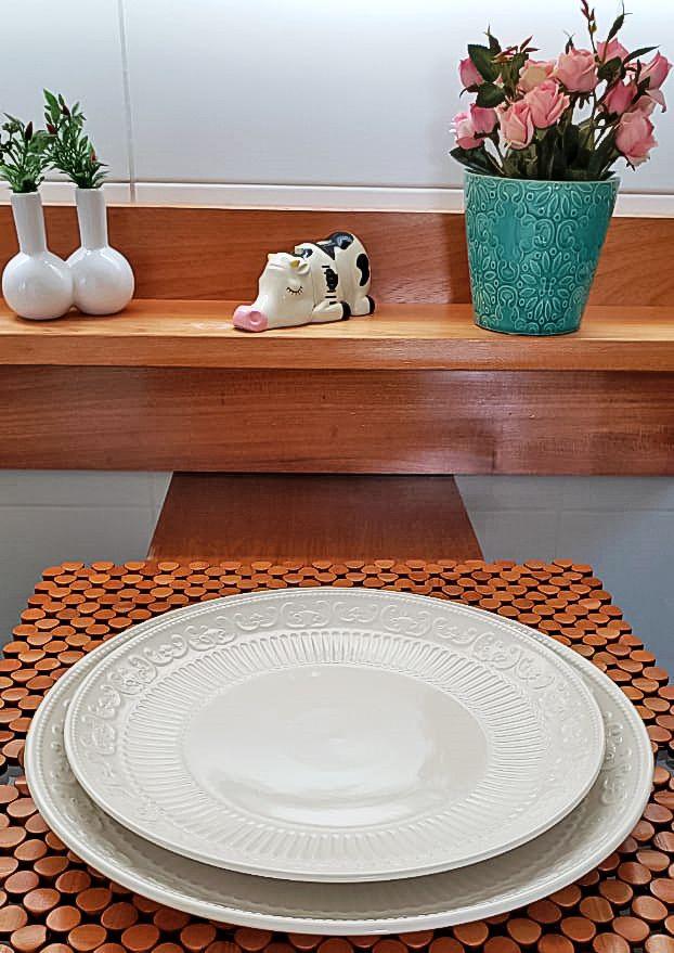 Conjunto 2 Travessas de Porcelana New Bone Angel Branco 30cm e 35cm