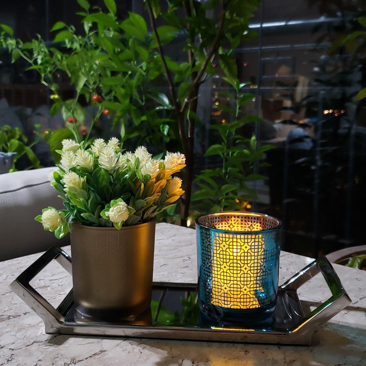 Conjunto 3 Castiçais Vidro Color Azul e Dourado