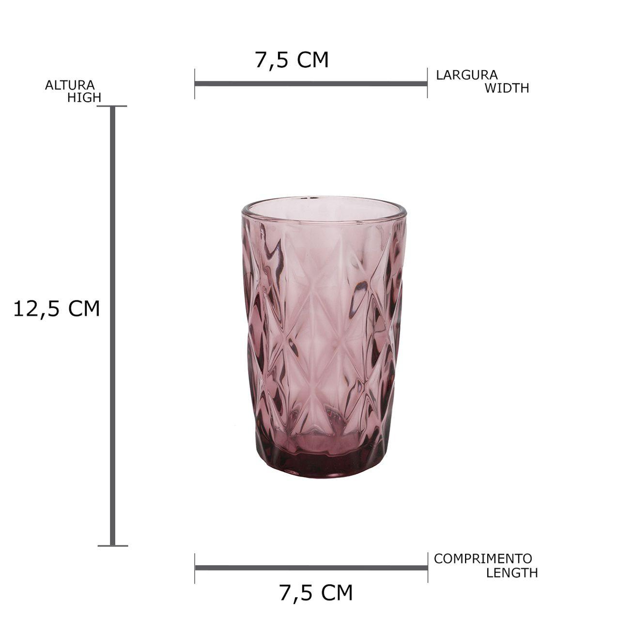 Conjunto 6 Copos Altos De Vidro  Diamond Lilas 350ml