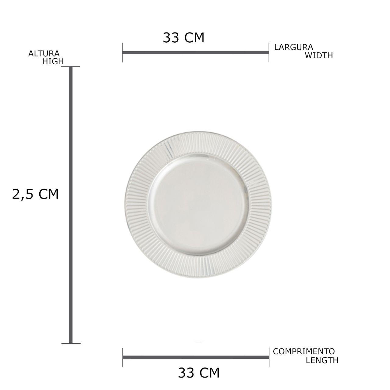 Conjunto 6 Sousplats Plastico Bright Prateado 33cm