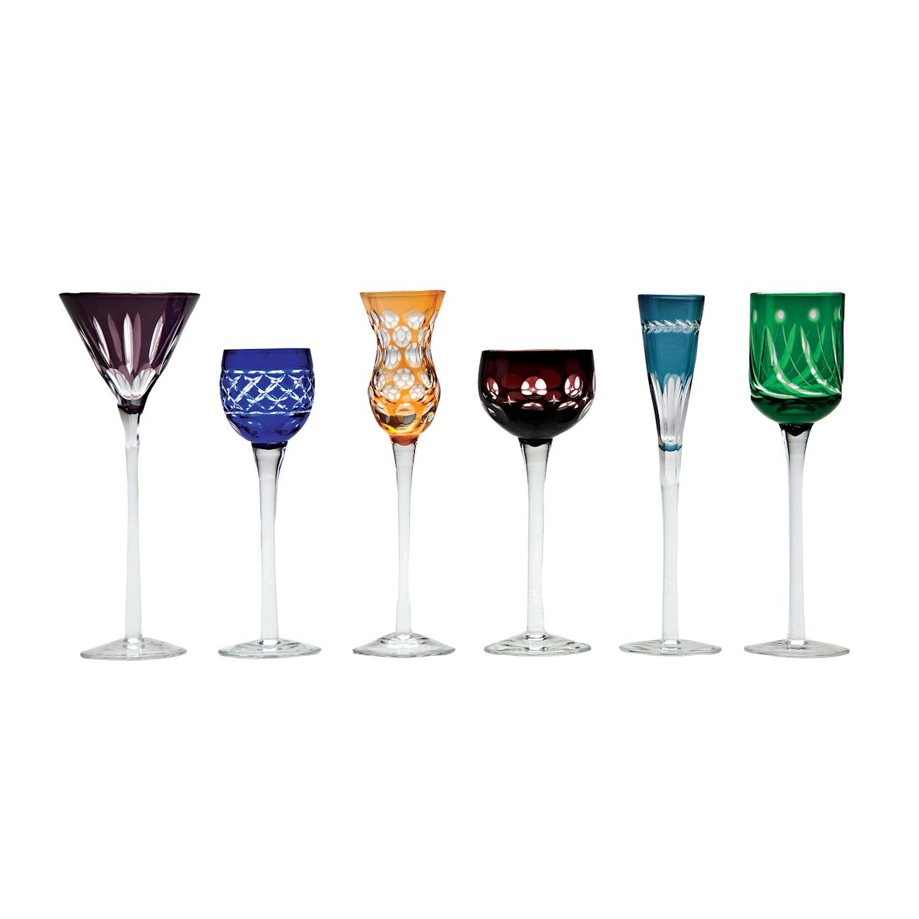 Conjunto 6 Taças para Licor Lapidadas de Cristal 150ml