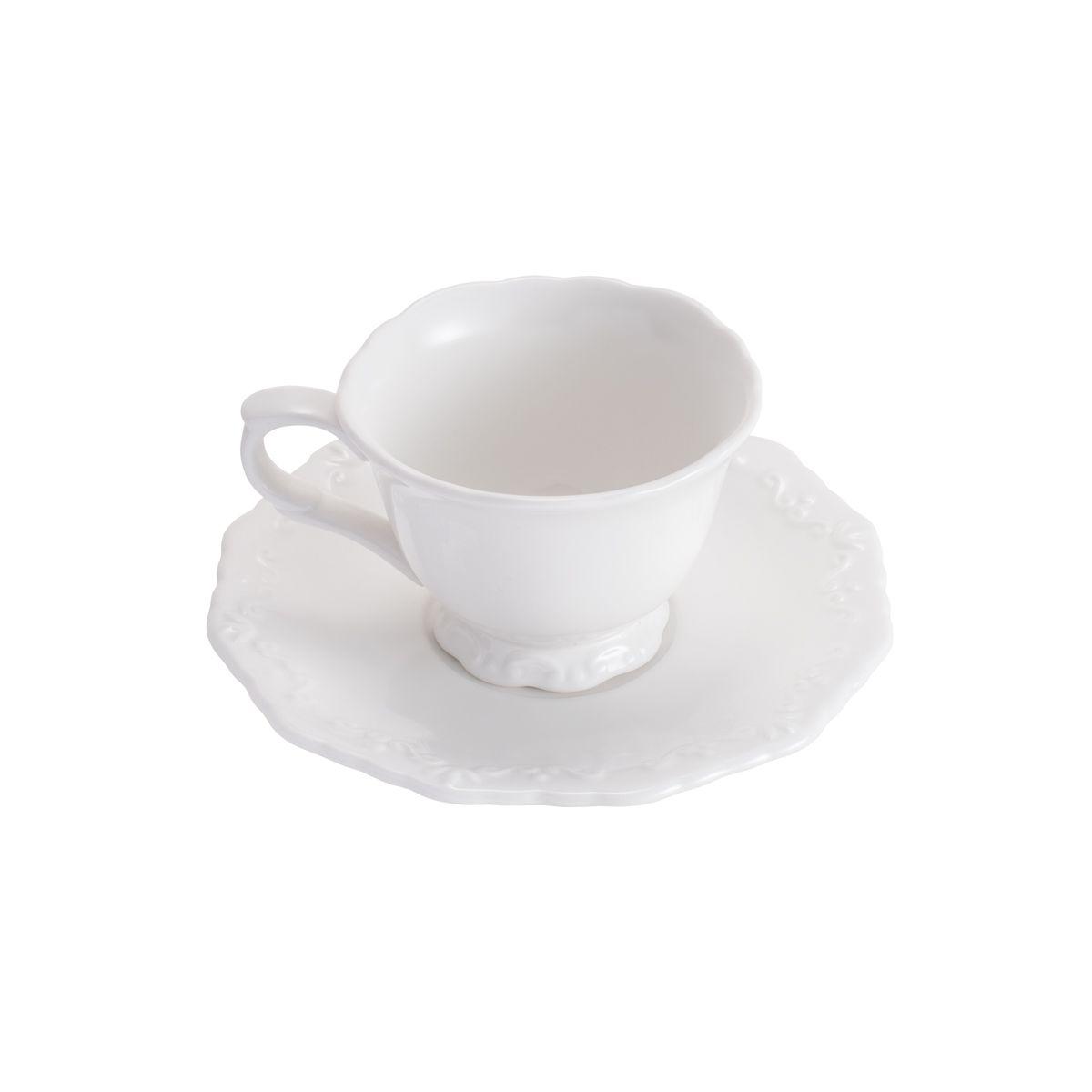 Conjunto 6 Xicaras de Chá com Pires de Porcelana Alto Relevo 200ml