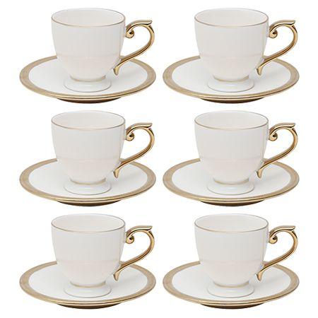 Conjunto 6 Xicaras para Café com Pires Paddy 90ml em Porcelana