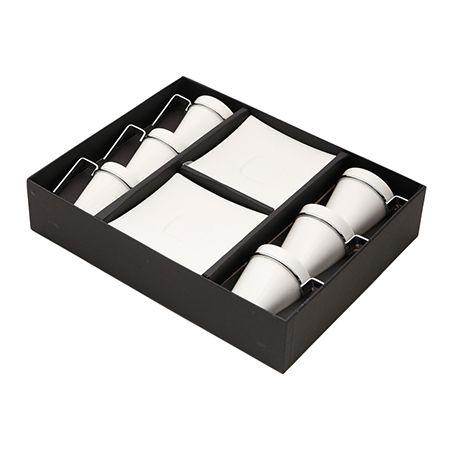 Conjunto 6 Xicaras para Café com Pires Spril 80ml em Porcelana