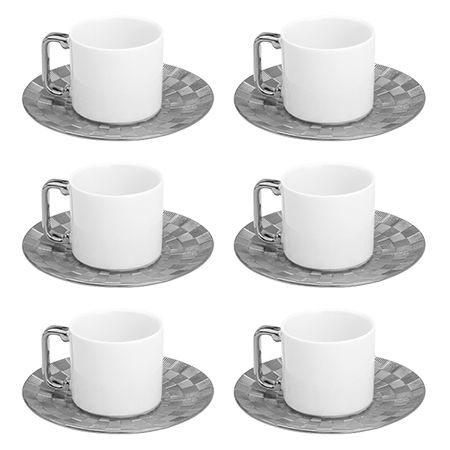 Conjunto 6 Xicaras para Café com Pires Super White Vera Silver 80ml em Porcelana