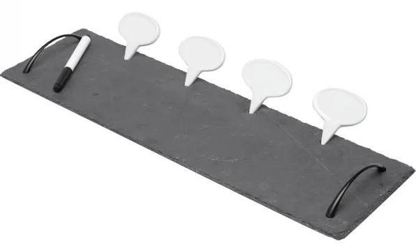 Bandeja de Ardósia com Alca de Aço e 4 Letreiros de Cerâmica 50x15x4cm