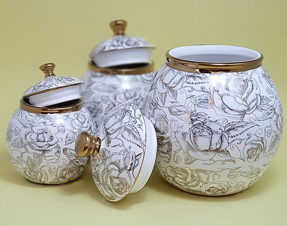 Conjunto com 3 Potiches decorativo cerâmica branco