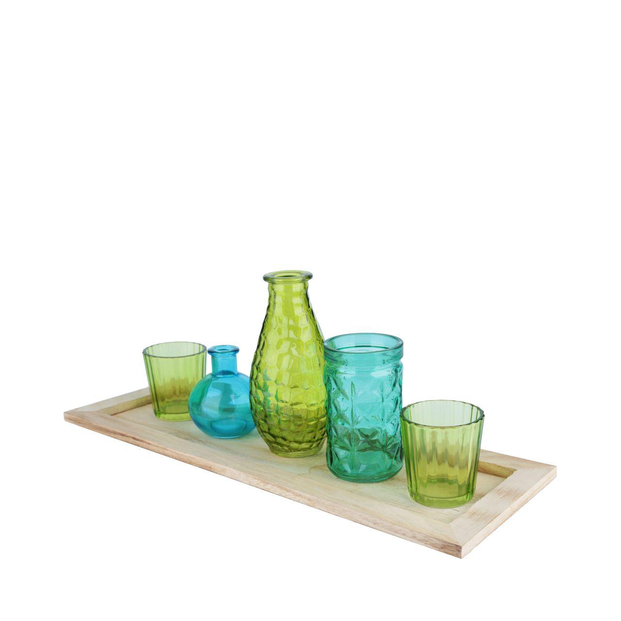 Conjunto 5 Castiçais Vidro com Bandeja Madeira De Tamanhos Variados Azul/Verde