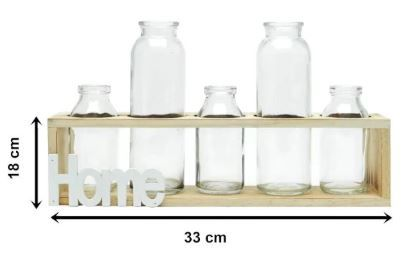 Conjunto de 5 Vasos de Vidro/ Madeira Home Decor Transparente